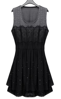 Black Sleeveless Chiffon Short Dress