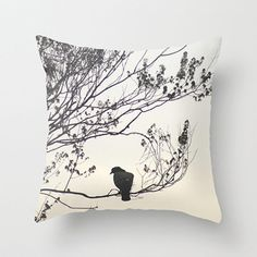 Spring Silhouette Photo Pillow Cover, Black Bird Photo, Tree Decor Pillow Case, Black and Beige Decor, Toss Pillow Cover
