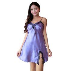 Señoras Sexy Vestido De Noche de Satén de Seda Sin Mangas Camisones Camisón V-cuello Más El Tamaño Camisón de Encaje ropa de Dormir Ropa de Dormir