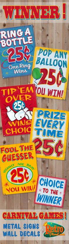 Carnival Games! Winner every time!  Ring a Bottle Prize Every Time Fair Signs