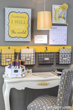 Love this bright yellow with the muted greys - subtle enough to encourage learning with bright pops to stimulate creativity. Awesome! www.homeology.co.za