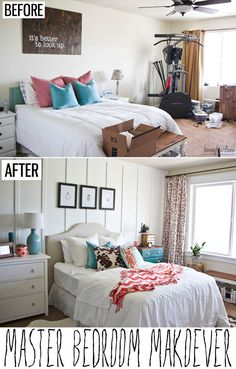 Master Bedroom Makeover ,  the bench with the wire basket. like it.