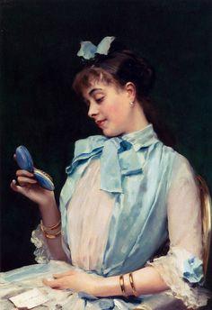 """""""Portrait of Aline Mason in blue""""by Raimundo de Madrazo y Garreta (1841-1920)"""