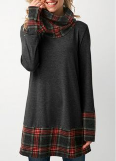 Patchwork Plaid Cowl Neck Dark Grey T Shirt on sale only US$31.58 now, buy cheap Patchwork Plaid Cowl Neck Dark Grey T Shirt at liligal.com