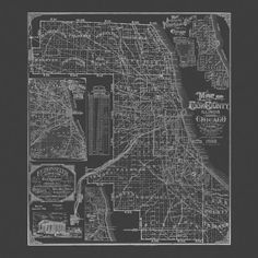 BLUEPRINT CHICAGO MAP Chicago Map Print by EncorePrintSociety