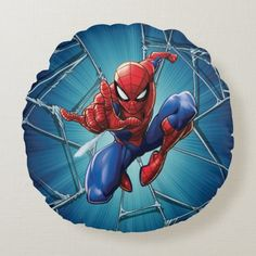 Spider-Man | Web-Shooting Leap Round Pillow Spiderman Face, Parker Spiderman, Heroes Peter, Venom Face, Marvel Games, Kids Makeup, Comic Books Art, Book Art, Round Pillow