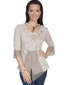 Victorian inspired blouse - Scully Womens Beaded Lace Blouse $64.00 AT vintagedancer.com