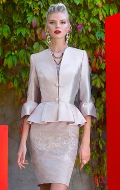 6bf60da41ffd0 92665 - Sale Price - Carla Ruiz Carla Ruiz Taffeta fitted dress and peplum  jacket with lace detail at Blessings Mother of the Bride Boutique Brighton  East ...