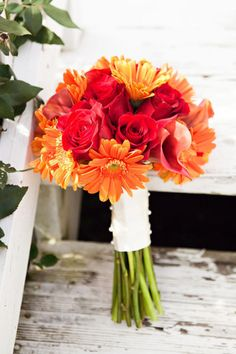 red rose and orange gerber daisy wedding bouquet - has to have gerber daisies