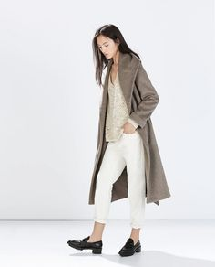 Ultimate stylish errand-running outfit: Zara Wool Coat With Belt + V-Neck Fancy Knit Top + Boyfriend Corduroy Trousers + Croc Pattern Moccasins