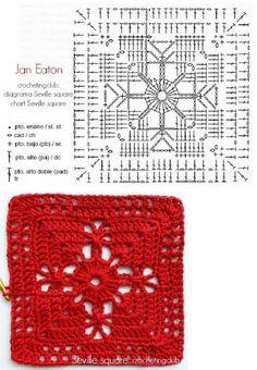 Transcendent Crochet a Solid Granny Square Ideas. Inconceivable Crochet a Solid Granny Square Ideas. Motifs Granny Square, Granny Square Crochet Pattern, Crochet Blocks, Crochet Flower Patterns, Crochet Diagram, Crochet Chart, Crochet Squares, Crochet Granny, Crochet Motif