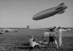 The Hindenburg (LZ 129) airship of the Zeppelin Transport Comnpany landing at airship port upon return from commercial flight to England.