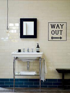 Awesome London Underground inspired bathroom tiles 'way out' Edwardian bathroom Loft Bathroom, Bathroom Basin, Family Bathroom, Bathroom Renos, Small Bathroom, Bathroom Ideas, Metro Tiles Bathroom, Cloakroom Basin, Bathroom Grey