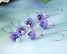 Stitch Markers Knitting Lucite Flowers Glass Crystals by yarnyoda