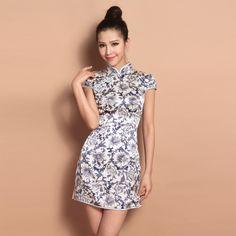 Custom Made Blue Flowers Pattern Silk Cheongsam Qipao Dress - Qipao - Cheongsam - Women