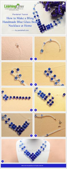 How to Make a Bling Handmade Blue and Clear Glass Bead Necklace at Home