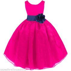 FUCHSIA PINK NAVY BLUE WEDDING ORGANZA FLOWER GIRL DRESS 12-18m 2/3T 4/5T 6 8 10 $ 21.99