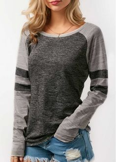 Grey Raglan Top Grey Round Neck Long Sleeve Patchwork T Shirt Stylish Tops For Girls, Trendy Tops For Women, Cheap Fashion, Fashion Outfits, 50 Fashion, Ladies Fashion, Trendy Fashion, Spring Fashion, Womens Fashion
