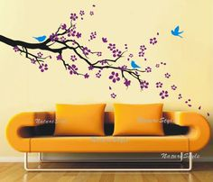 plum blossom with Flying Birds -Vinyl Wall Decal,Sticker,Nature Design.