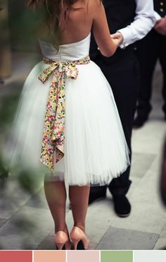 cute idea for the reception, change out your fancy beaded belt from the ceremony for a fun colorful one!