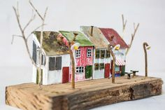 wood house tiny house miniature driftwood art coffee shop