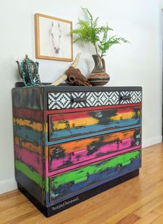 For Sale. I love how this turned out. Southwestern with a boho flair. Available in my Etsy shop. Plenty of heavy distressing on this one. Bold furniture. Southwestern style dresser. Boho furniture. Furniture artist. Creative furniture. I create custom pieces for clients throughout the US. Email me through my website if you have questions. Boho stle. Lodge style. Cabin style. Vivid colors. Repurposed Furniture, Custom Furniture, Vintage Furniture, Painted Furniture, Annie Sloan Paints, Boho Inspiration, Lodge Style, Southwestern Style, Furniture Restoration