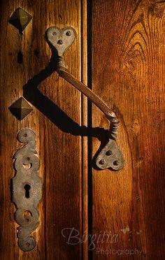 antique  lock and door handle.