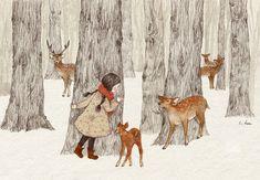 가을에서 겨울로 넘아가는 계절의 숲은 왠지모를 신비감에 싸여 있었습니다. 얇은 실크천을 덮은 듯 서리를 맞아 반짝이는 길...생명이 있는 모든 것에서 새어나오는 뽀얀 숨의 김... 자신의 잎들을 모두 떨궈내고 할 일을 다 한 듯 여유있는 고요를 즐기는 듯한 나무들... 이 계절에 숲에 가면 나는... 가만히 나무에 몸을 기대고 귀를 기울였습니다. 모든 생명들이 저마다의 소리로 노래를 하는 계절엔 들을 수 없었던 느리고 고요한 나무들의 노래가 들리는 것 같았거든요. 차갑고 딱딱해보이던 나무들의 몸은 신기하게도 따뜻하고 포근했고... 천천히 느린 숨을 뱉어내며 나무들은 뭐라고 나에게 말을 거는 것 같았어요.. 나의 귀 속으로 들어와 몸을 휘감고 뱃속까지 울리는 깊은 소리였습니다. 정확히 뭐라고 하는지는 알아들을 수는 없었지만... 겨울을 기다리며 부르는 나무들의 고요한 노래는 오랫동안 내 안에 맴돌았지요...... 지금도 가을이 가고 겨울이 오는 계절이 되면.. 나무의…