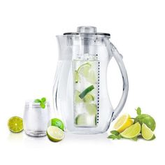 Now you can use fresh, natural ingredients to create your own personalized fruity, flavored drinks with this acrylic water pitcher with fruit infuser. No need to settle with artificial ingredients bec Fruit Infused Water, Fruit Water, Infused Water Bottle, Water Bottles, Clear Fruit, Infused Waters, Fresh Fruit, Detox Drinks, Healthy Drinks