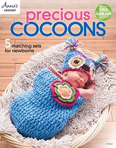 Crochet cocoons make an amazing gift and keep baby feeling safe and warm. Precious Cocoons includes 5 cocoon designs with matching hats or headband.