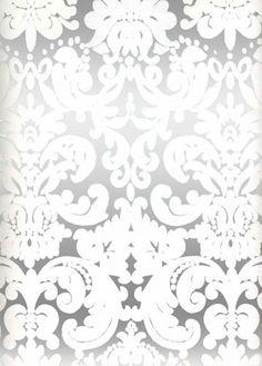 White & Silver Mylar Leafy Damask retro modern wallpaper