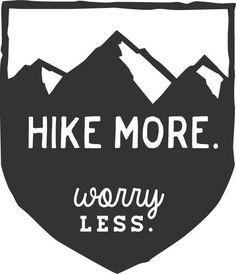 Hike More Worry Less: Mountain Hiking Badge Car Decal by MarkedCo
