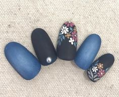 Blue black floral matte