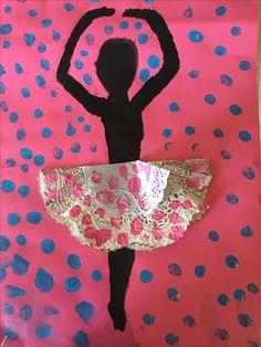 Ballerina Silhouette -2016. Doily skirt and finger painting.