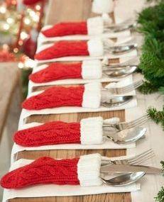 Cute Christmas Table Decoration Idea!  I found a pretty good deal on a set of 12 too!  Awesome Idea!!