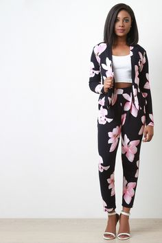 I'm Fabulous Textured Floral High Waisted Pants