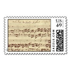 Old Music Notes - Bach Music Sheet Postage. This is customizable to put a personal touch on your mail. Add your photos or text to design your own stamp that can be sent through standard U.S. Mail. Just click the image to try it out!