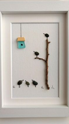 Unframed 5 by 7 by Jenny Love bird pebble art birthday