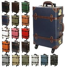 Fashion Women Travel Suitcase PU Leather Vintage Set | Bags and ...