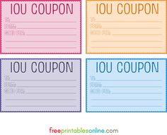 printable iou coupon voucher diy crafty pinterest coupons gift and craft. Black Bedroom Furniture Sets. Home Design Ideas