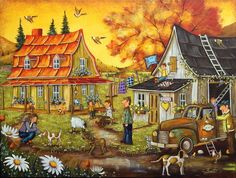 Christine Genest ~ Laughter is Congieux Folk, Arte Country, Perfect Peace, Storybook Cottage, Art Story, Vintage Farm, Autumn Art, Naive Art, Canadian Artists