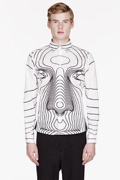 Christopher Kane White Big Face Print Shirt for men   SSENSE