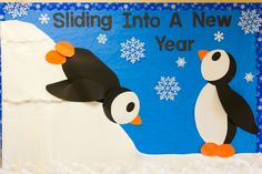 Winter New Year Penguin Bulletin Board. Make a number line going up the ice for the penguin to climb to count the books read.