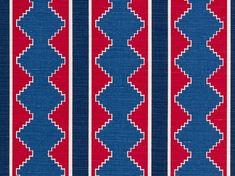 Step Stripe - Blue Red on Oyster | Bennison Fabrics