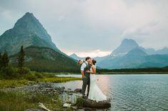 Glacier National Park MT Elopement Couple Kissing