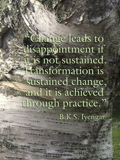 """""""Change leads to disappointment if it is not sustained. Transformation is sustained change, and it is achieved through practice."""" B.K.S. Iyengar #business #quote"""