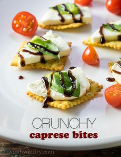 You guys!! These Crunchy Caprese Bites will seriously rock your world! Fresh mozzarella, basil and a tangy balsamic glaze are placed on top of crispy and crunchy marinara flavored Pasta Chips for a...