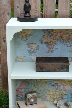 Update an old bookshelf with a map! Curbside Bookshelf Makeover http://mycreativedays.com