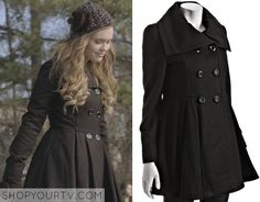 Lydia Martin (Holland Roden) wears this black coat in this episode of Teen Wolf. It is the BETSEY JOHNSON Black Wool Blend Babydoll Pleated Coat. Buy it HERE for $127