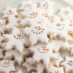 Snowman Snowflake cookies  Smiling snowflakes are a perfect way to enjoy one-dimensional snowmen.